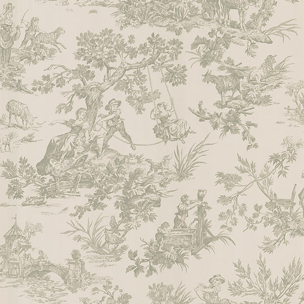 Limoges Taupe Toile Wallpaper