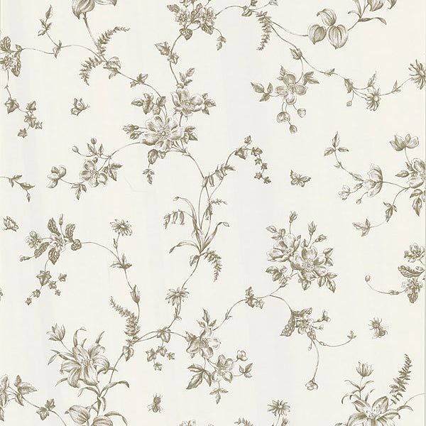 Vivace Taupe Floral Trail Wallpaper