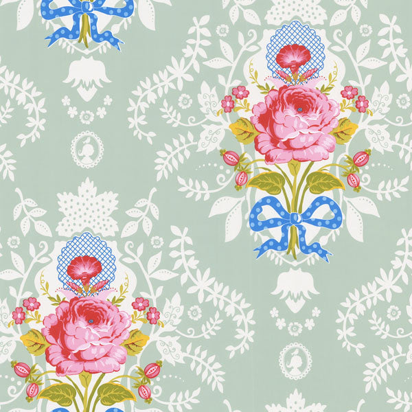 Aqua Floral Cameo Wallpaper