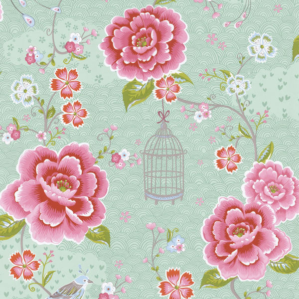Aqua Floral Birds Trail Wallpaper