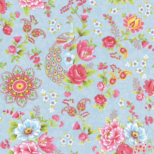 Light Blue Paisley Floral Wallpaper