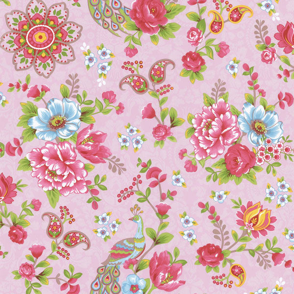 Pink Paisley Floral Wallpaper