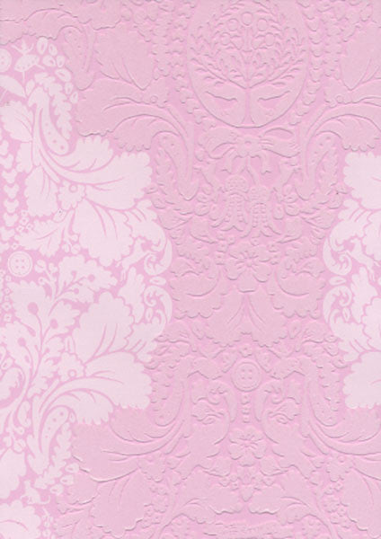 Light Pink Flock Damask Wallpaper