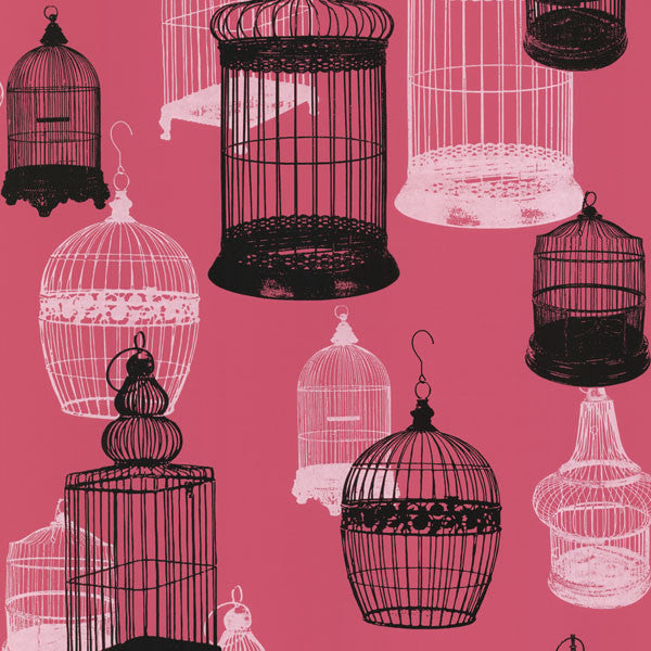 Avian Pink Bird Cages Wallpaper