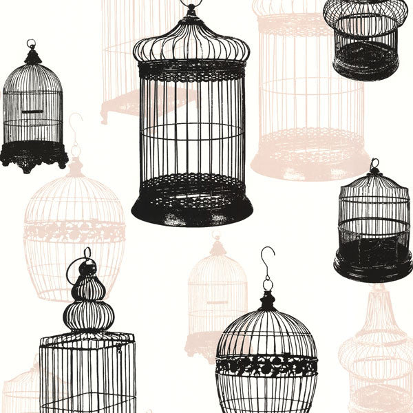 Avian Black Bird Cages Wallpaper