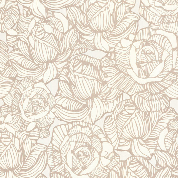 Calista Beige Modern Rose Wallpaper