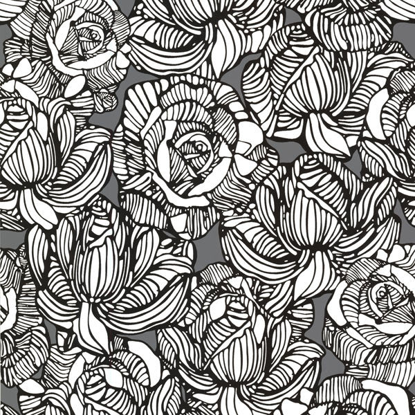 Calista Grey Modern Rose Wallpaper