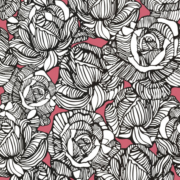 Calista Pink Modern Rose Wallpaper