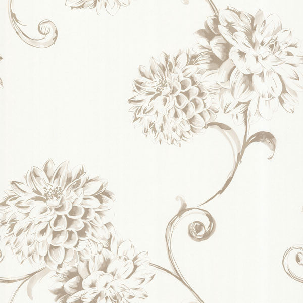 Deliah Pearl Watercolor Dahlia Wallpaper
