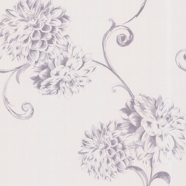 Deliah Purple Watercolor Dahlia Wallpaper