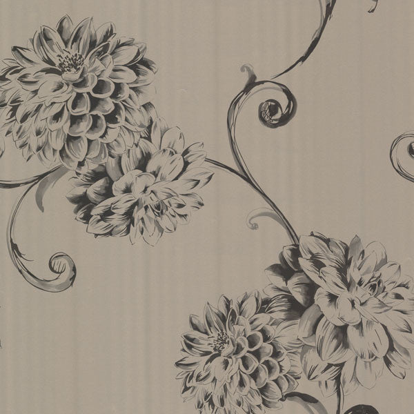 Deliah Sepia Watercolor Dahlia Wallpaper
