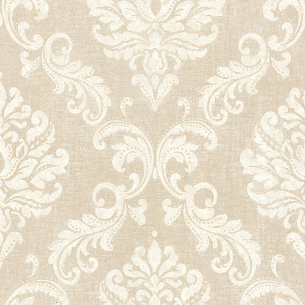 Sebastion Beige Damask Wallpaper