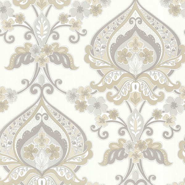 Ashbury Taupe Paisley Damask Wallpaper