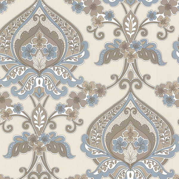 Ashbury Aqua Paisley Damask Wallpaper