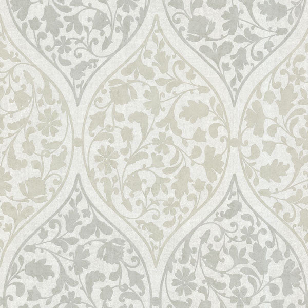 Adelaide Light Green Ogee Floral Wallpaper