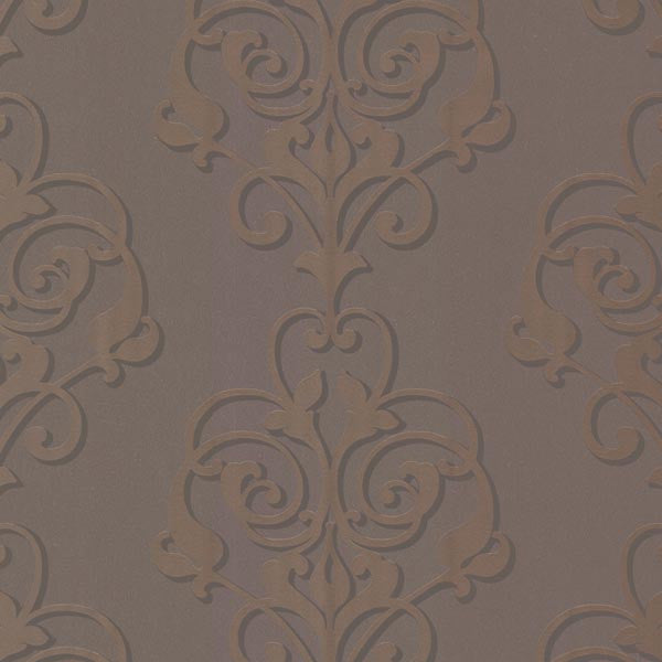Aeneas Taupe Modern Damask Wallpaper