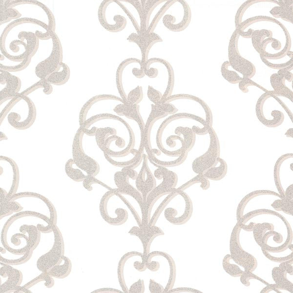 Aeneas Ivory Modern Damask Wallpaper
