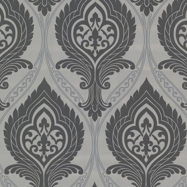Acasta Black Damask Wallpaper