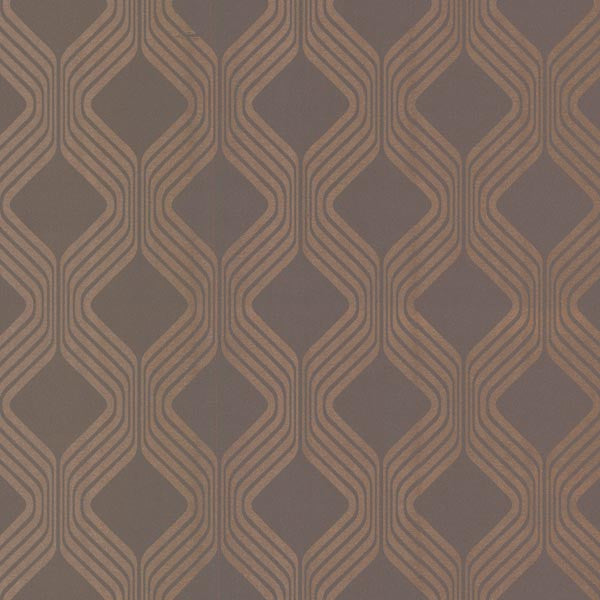 Alcaston Taupe Geometric Ogee Wallpaper