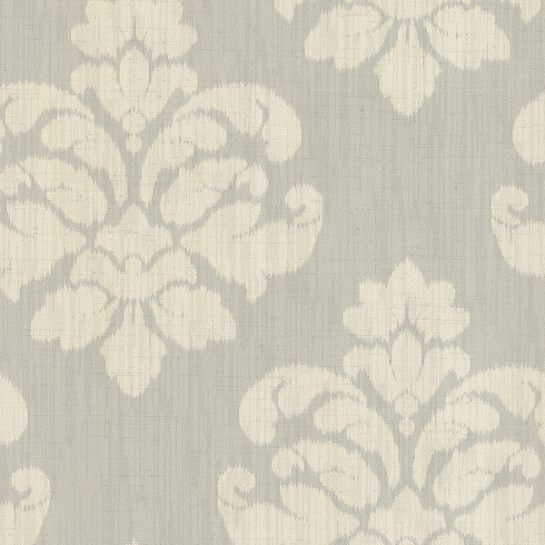 Mallory Light Grey Ikat Medallion Wallpaper