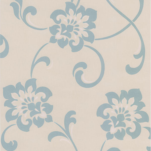 Sharon Aqua Jacobean Floral Wallpaper