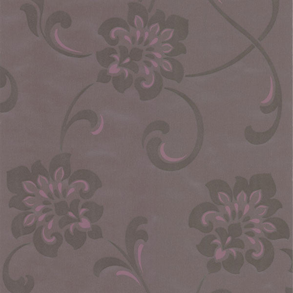 Sharon Purple Jacobean Floral Wallpaper