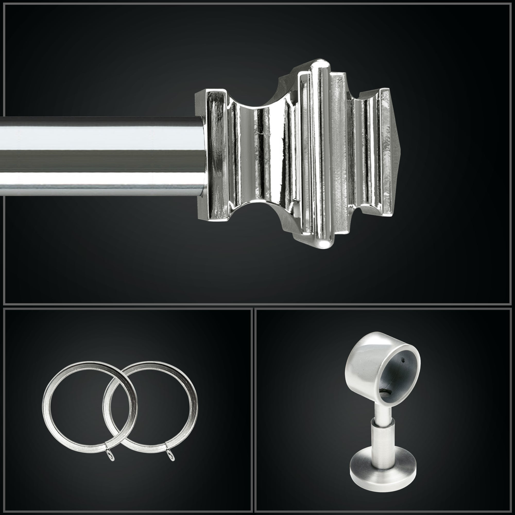 Hudson Metal Drapery Hardware - Mirrored Chrome
