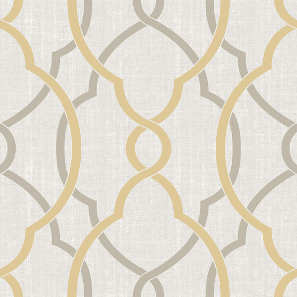 Sausalito Taupe/Yellow Peel and Stick Wallpaper