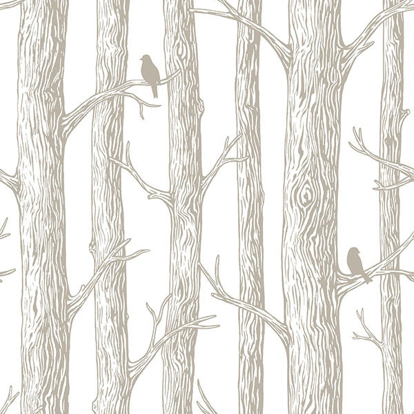 The Forest Grey Trees Peel and Stick Wallpaper