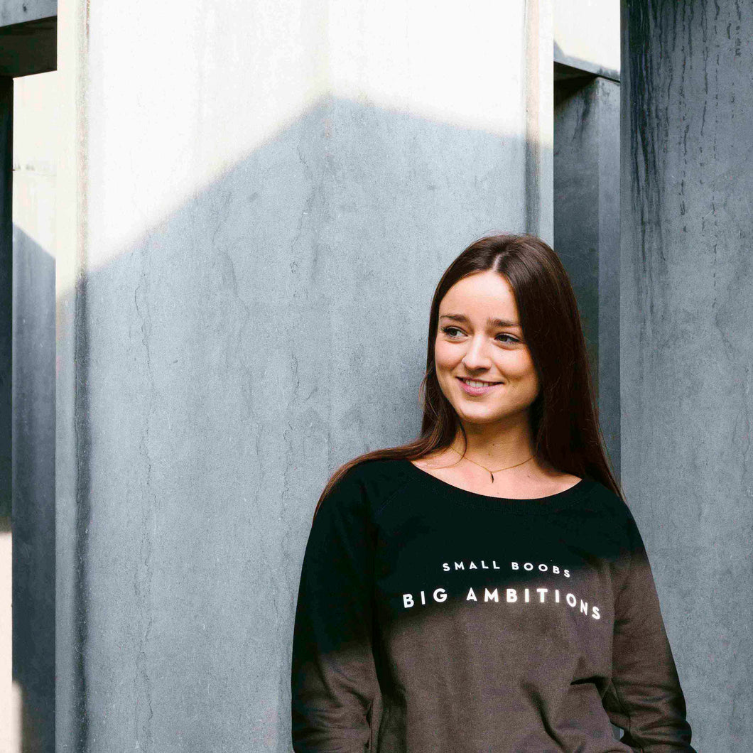 SWEATER - SMALL BOOBS BIG AMBITIONS - long sleeves - Black