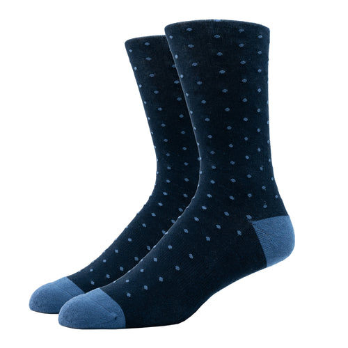 SILVER CREW DRESS SOCKS | DOTTED BLUE