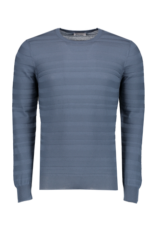 Front image of Gran Sasso Variegated Rib Crewneck Sweater