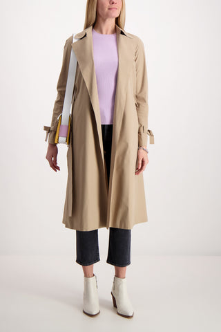 Double Breasted Raglan Pleated Trench Coat