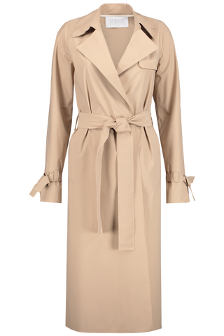 Front Image Double Breasted Raglan Pleated Trench Coat