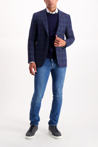 Full Body Image Of Model Wearing Isaia Navy Crewneck Sweater