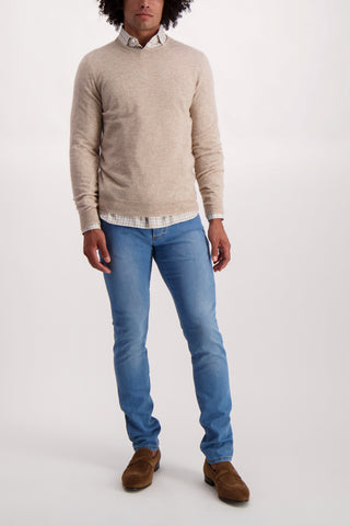 Full Body Image Of Model Wearing Isaia Tan Crewneck Sweater