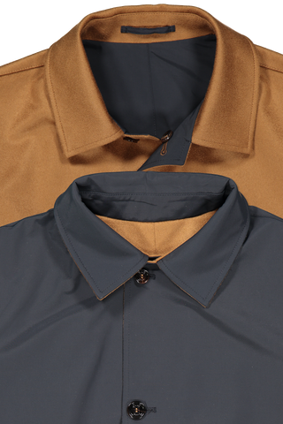 Kired Two Colors Neck Detail Peak Reversible Trench Coat