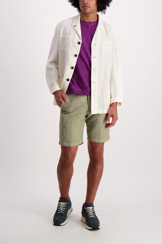 Full Body Image Of Model Wearing Massimo Alba Linen Jacket White