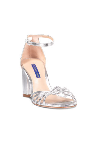 Front View Sutton Crinkle Metallic Sandal