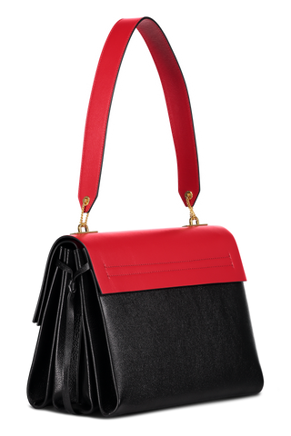 Back angle image of Valentino Vee Ring Medium Shoulder Bag Rouge/Nero