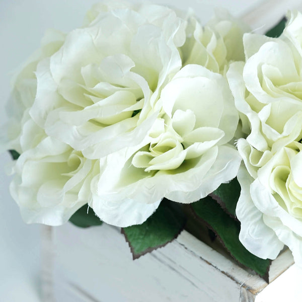 Open Rose Bouquet Artificial Silk Flowers - Cream