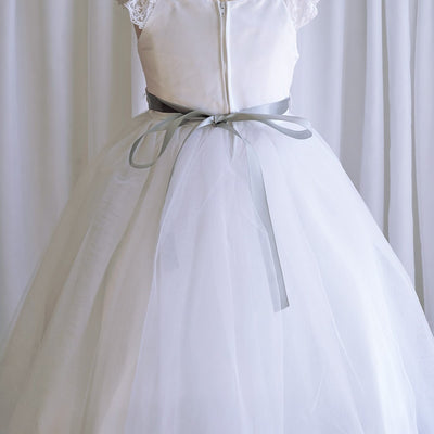 Sparkly Taffeta Bodice and Organza Overlay Skirt Dress - White