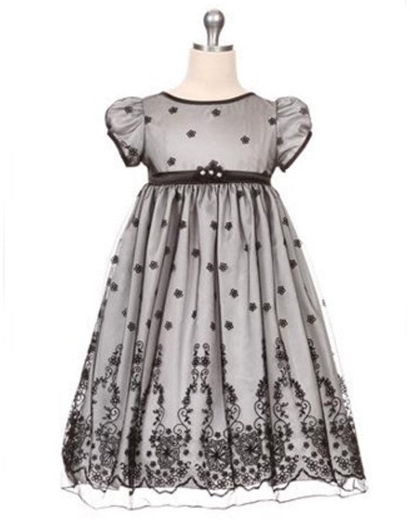 Taffeta and Floral Embroidered Tulle Overlay Dress - Silver
