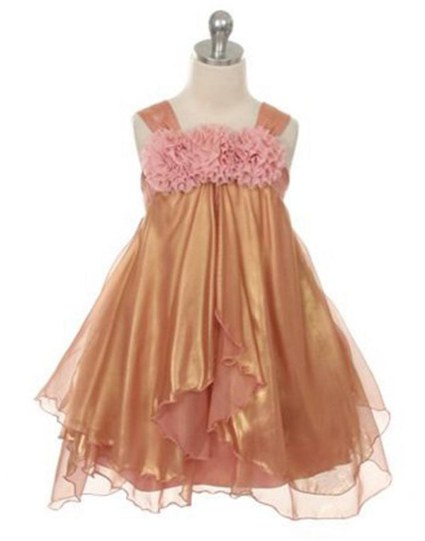 Shimmery Chiffon Dress - Coral