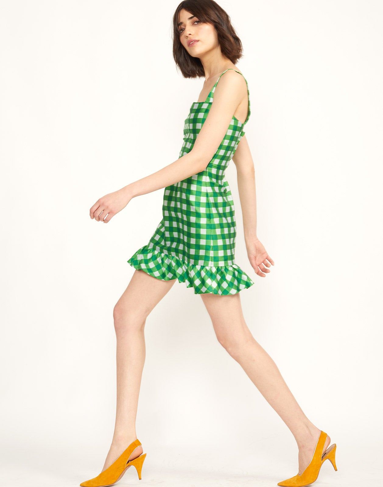 Side View of Stella Gingham Mini Dress