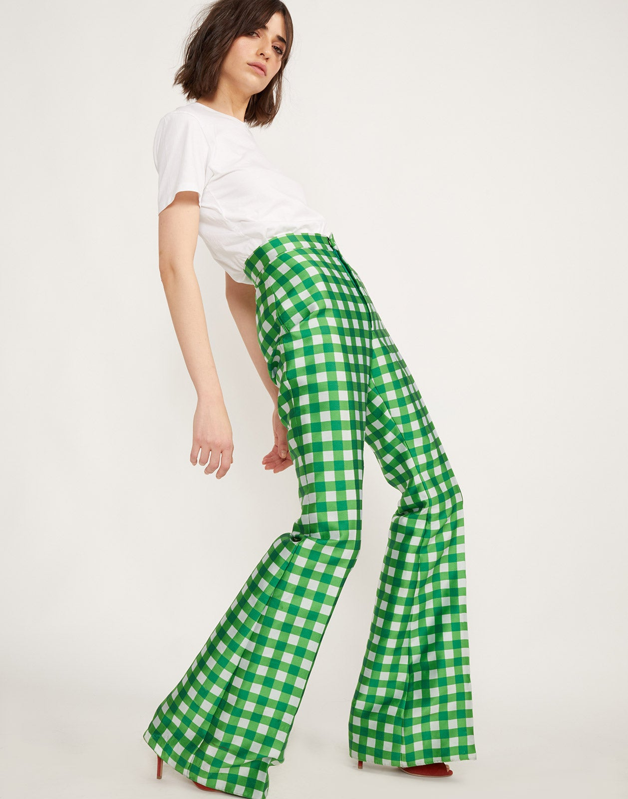 Side view of the Davis Gingham Flares