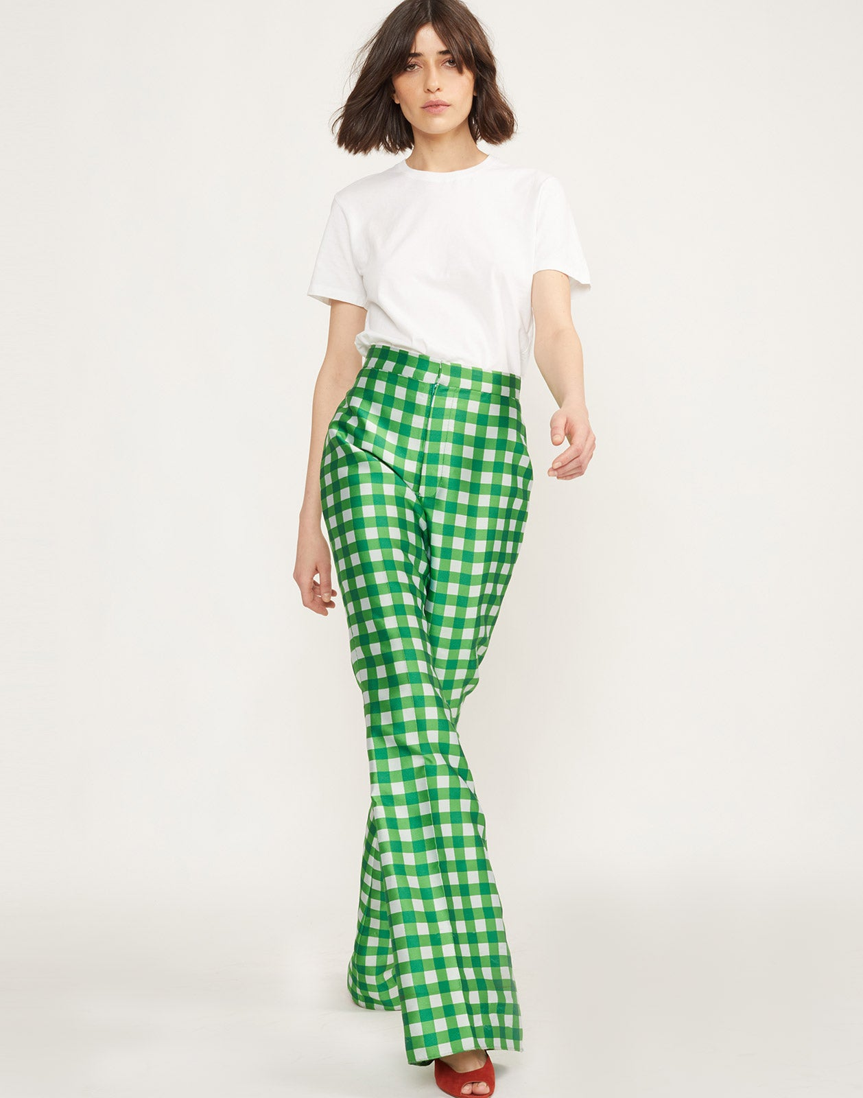 Front View of Davis Gingham Pant