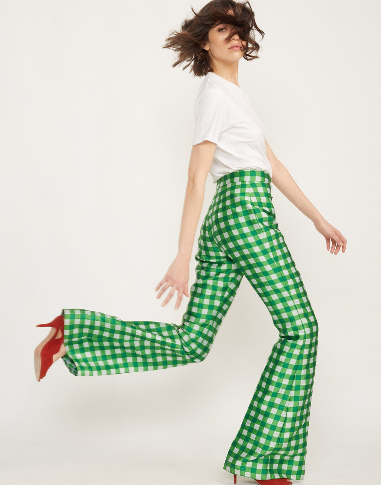 Side View of Davis Gingham Pant