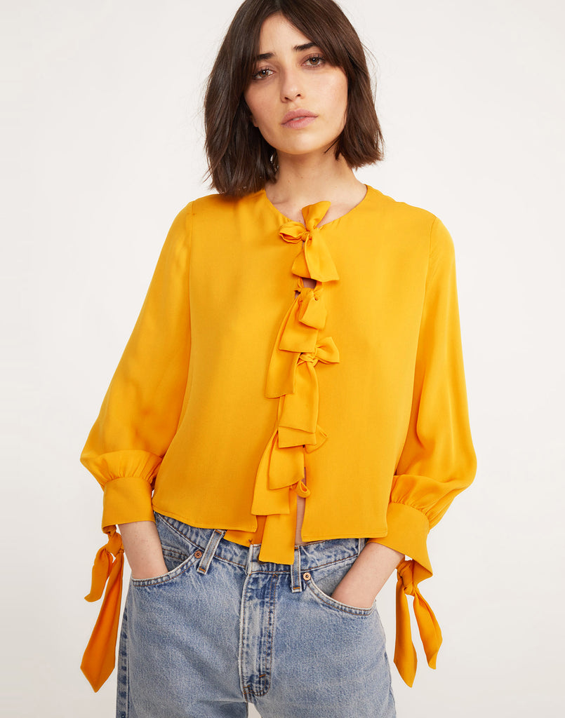 Front view of Tennessee Tie Front Top in Marigold