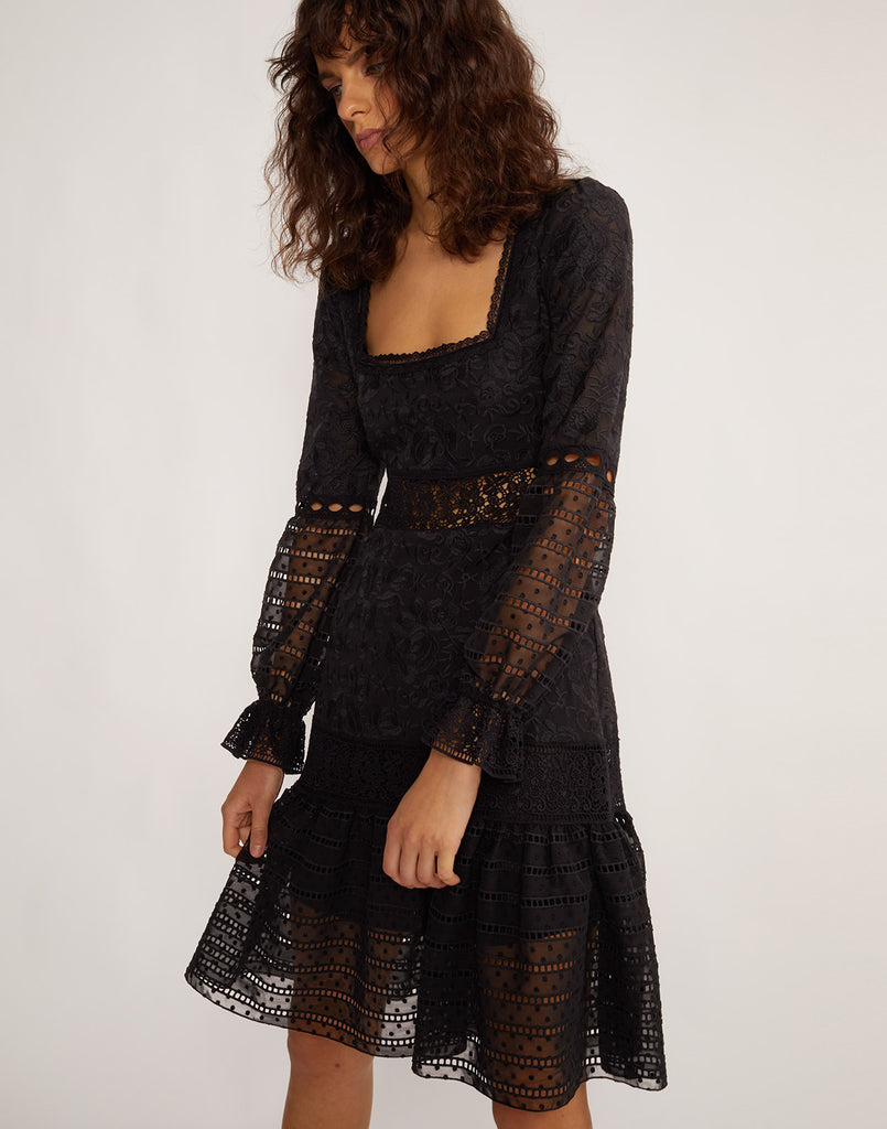 Partial side view of model wearing Wicker Park Lace Eyelet dress.